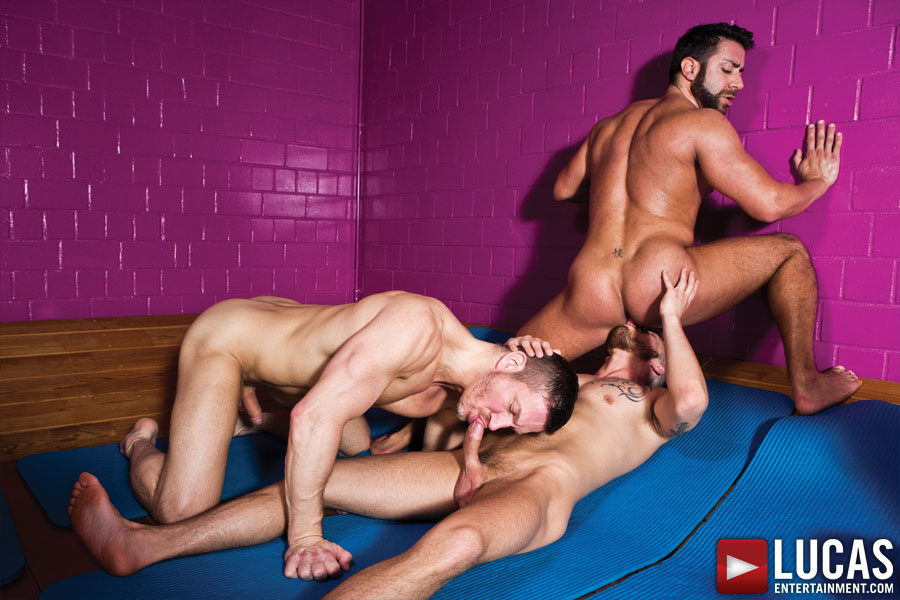 Fabio Lopez and Valentino Medici have gay sex with Tomas Brand