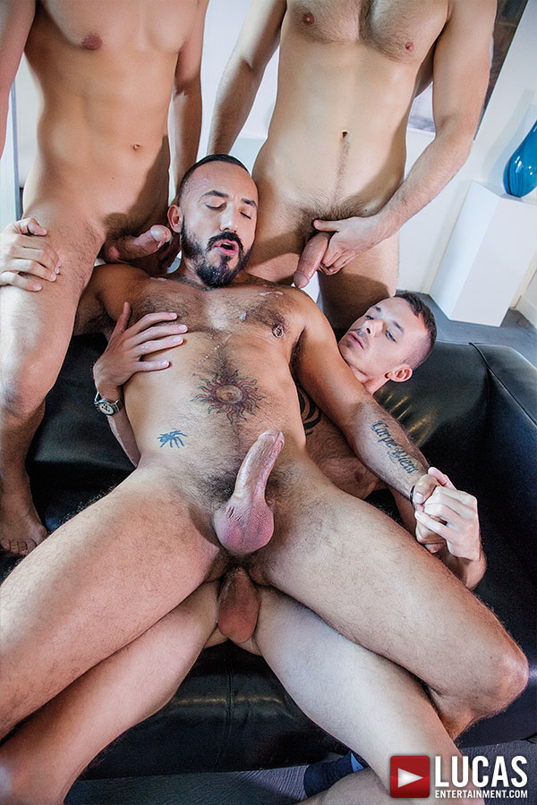 Alessio Romero Barebacks On Lucas Entertainment With Jimmie Slater, Adam Isaacs, And BJ Rhubarb