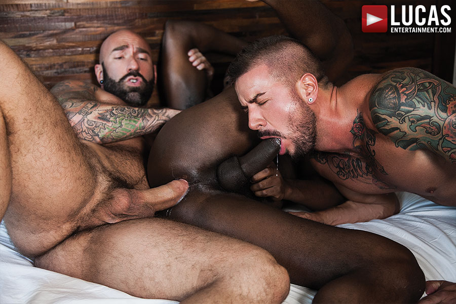 gay sex Bareback threesome