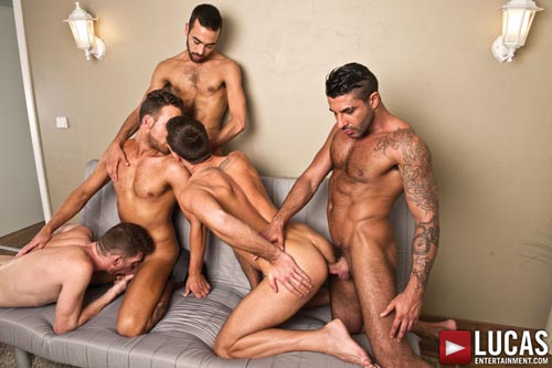 Logan Moore, Fostter Riviera, Raul Korso, Theo Ford, and Alex Lopez - Gay Bareback Sex Orgy 02