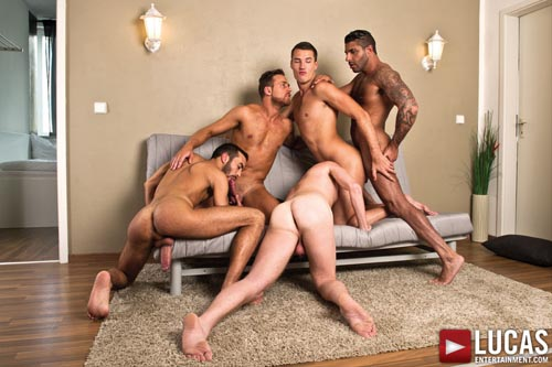 Logan Moore, Fostter Riviera, Raul Korso, Theo Ford, and Alex Lopez - Gay Bareback Sex Orgy 05